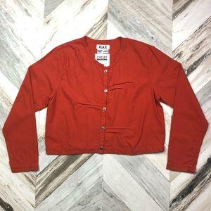 NWT FLAX Cotton Button Down Blouse Small Orange